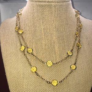 J Crew brand long chain yellow gem necklace
